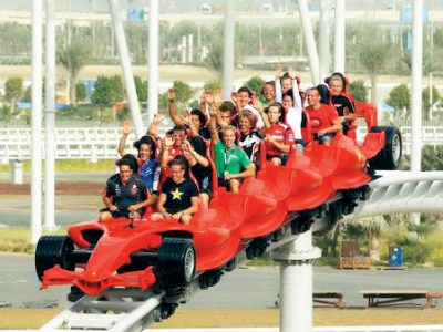 ABU DHABI, UNITED ARAB EMIRATES - FEBRUARY 09:  V8 Supercar drivers take a ride on a rollercoaster at Ferrari World on February 9, 2011 in Abu Dhabi, United Arab Emirates.  (Photo by Robert Cianflone/Getty Images)